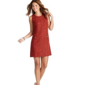 Loft red & black tweed exposed zipper shift dress